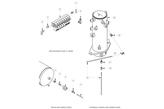 Truck Air Connections, Air Solenoid & Hydraulic Swivel Air