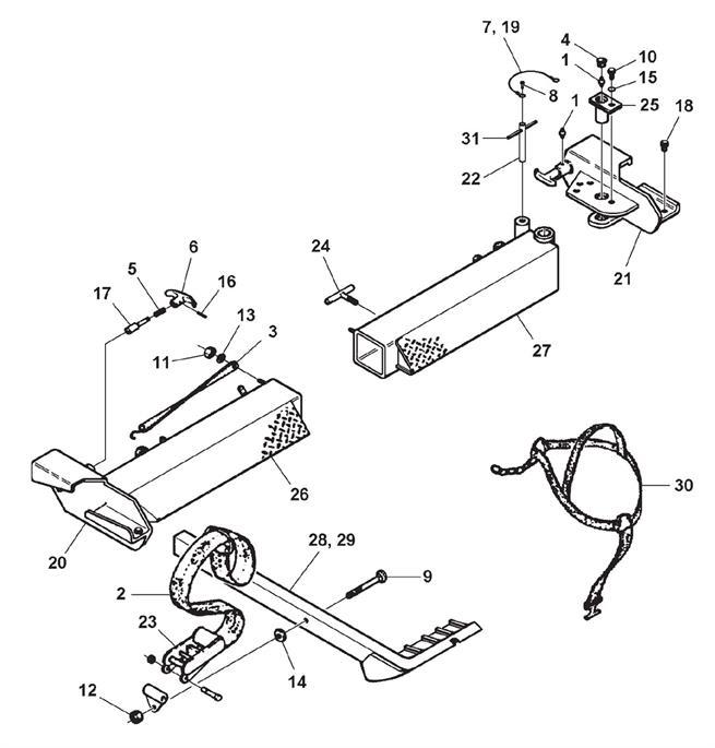 Optional Outer Crosstube & 3-Way Pivot Tire Restraint Assembly