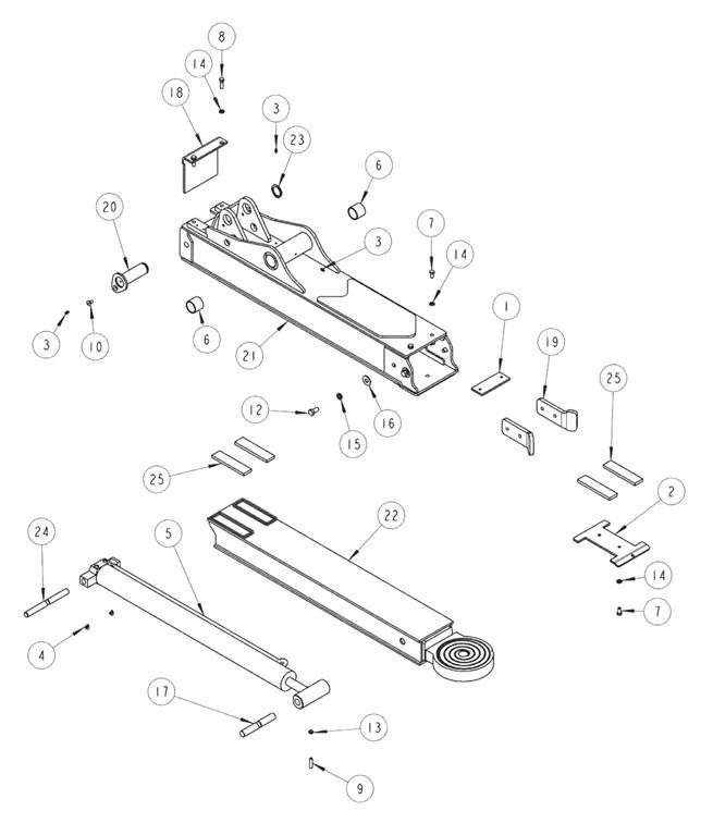 wheel lift boom assembly