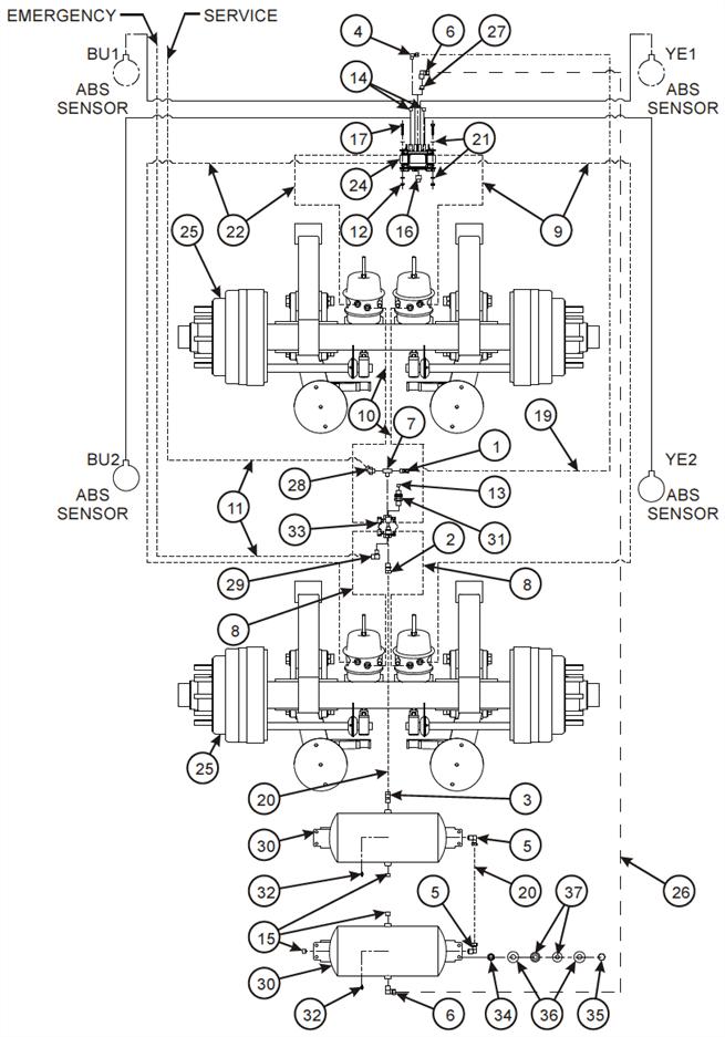 Air Brake System, Tandem Axle